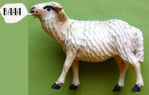 a wooden sheep