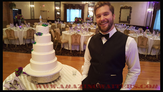 singing-waiters-chris-with-wedding-cake