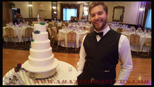 singing-waiters-chris-with-wedding-cake